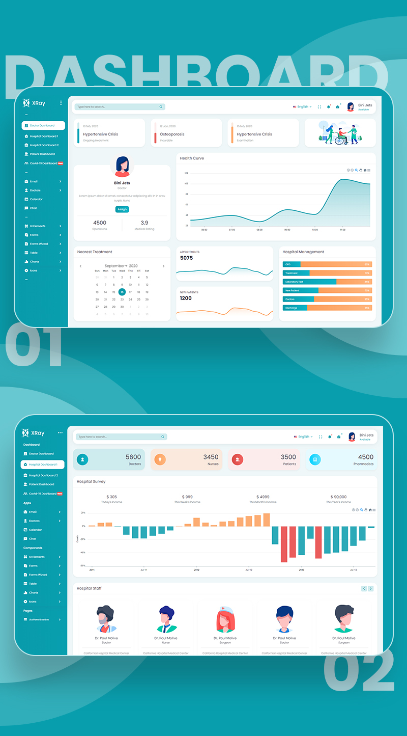 Hospital Clinic Management Admin Template | XRay | Iqonic Design vuejs html medical and hospital admin template XRay n2