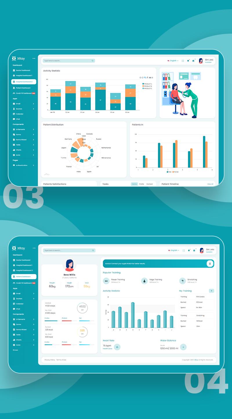 Medical and Hospital Admin Dashboard | XRay | Iqonic Design vuejs html medical and hospital admin template XRay n3