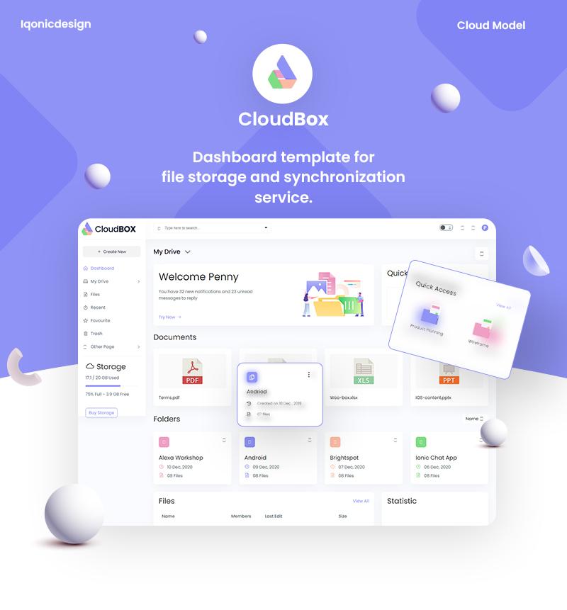 CloudBox | VueJS, HTML File Storage Admin Dashboard Template - 6 vuejs html file storage admin dashboard template CloudBox 1