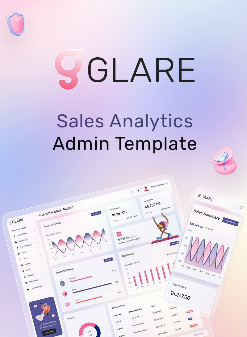 Glare - Soft Bootstrap Admin Dashboard - 6 soft vue js bootstrap admin dashboard Glare 01