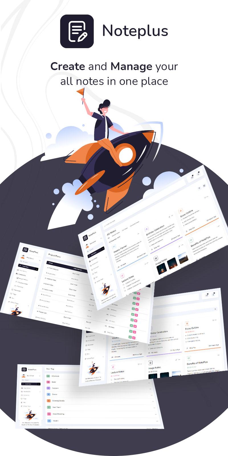 Note taking Webapp Admin Dashboard Template | Noteplus | Iqonic Design vuejs laravel and html note taking admin template Noteplus 1