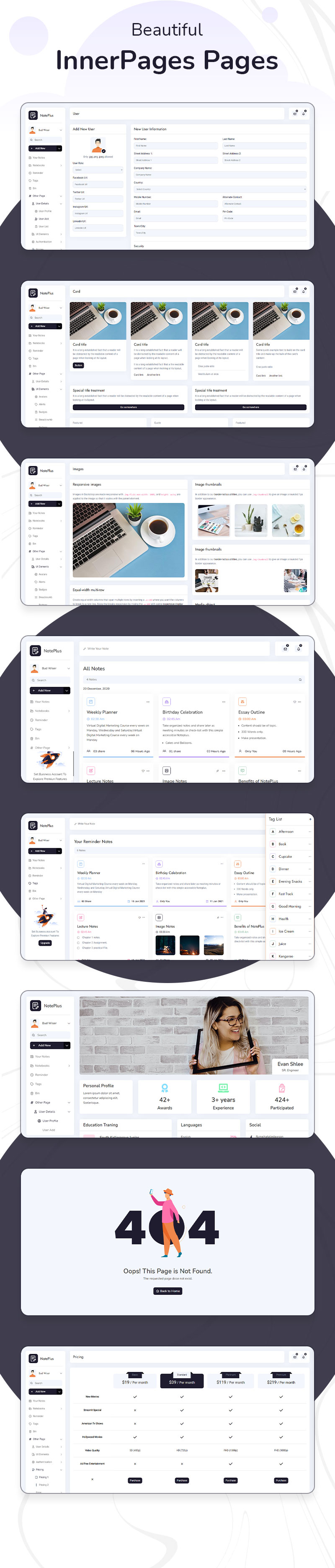 Note taking Webapp Admin Dashboard Template | Noteplus | Iqonic Design vuejs laravel and html note taking admin template Noteplus 4