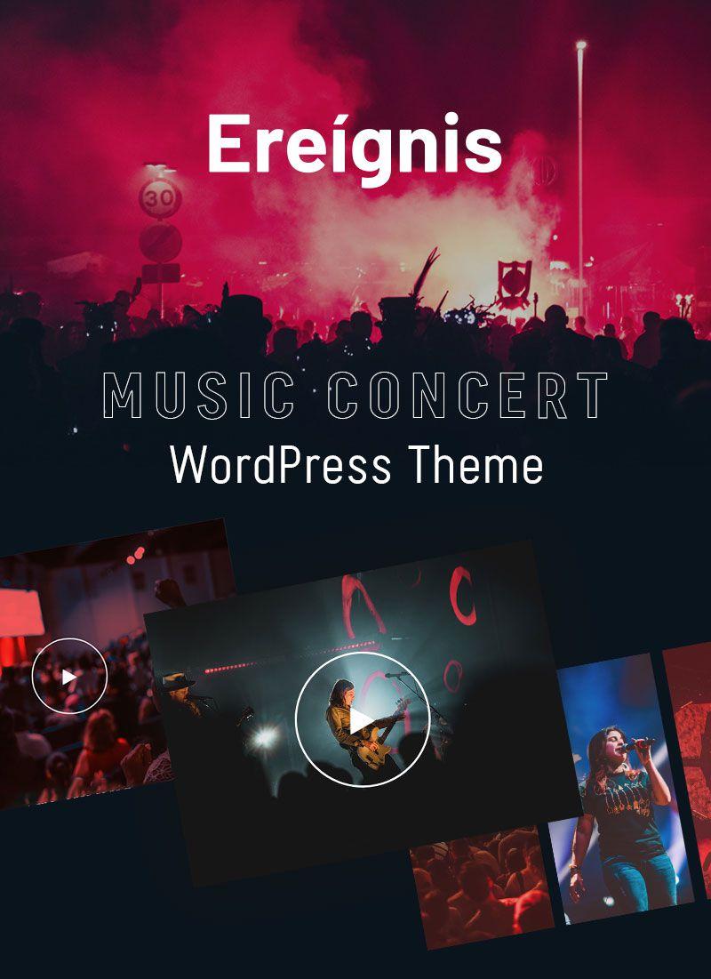 Music Concert WordPress Theme | Ereignis | Iqonic Design music concert wordpress theme Ereignis 01 banner