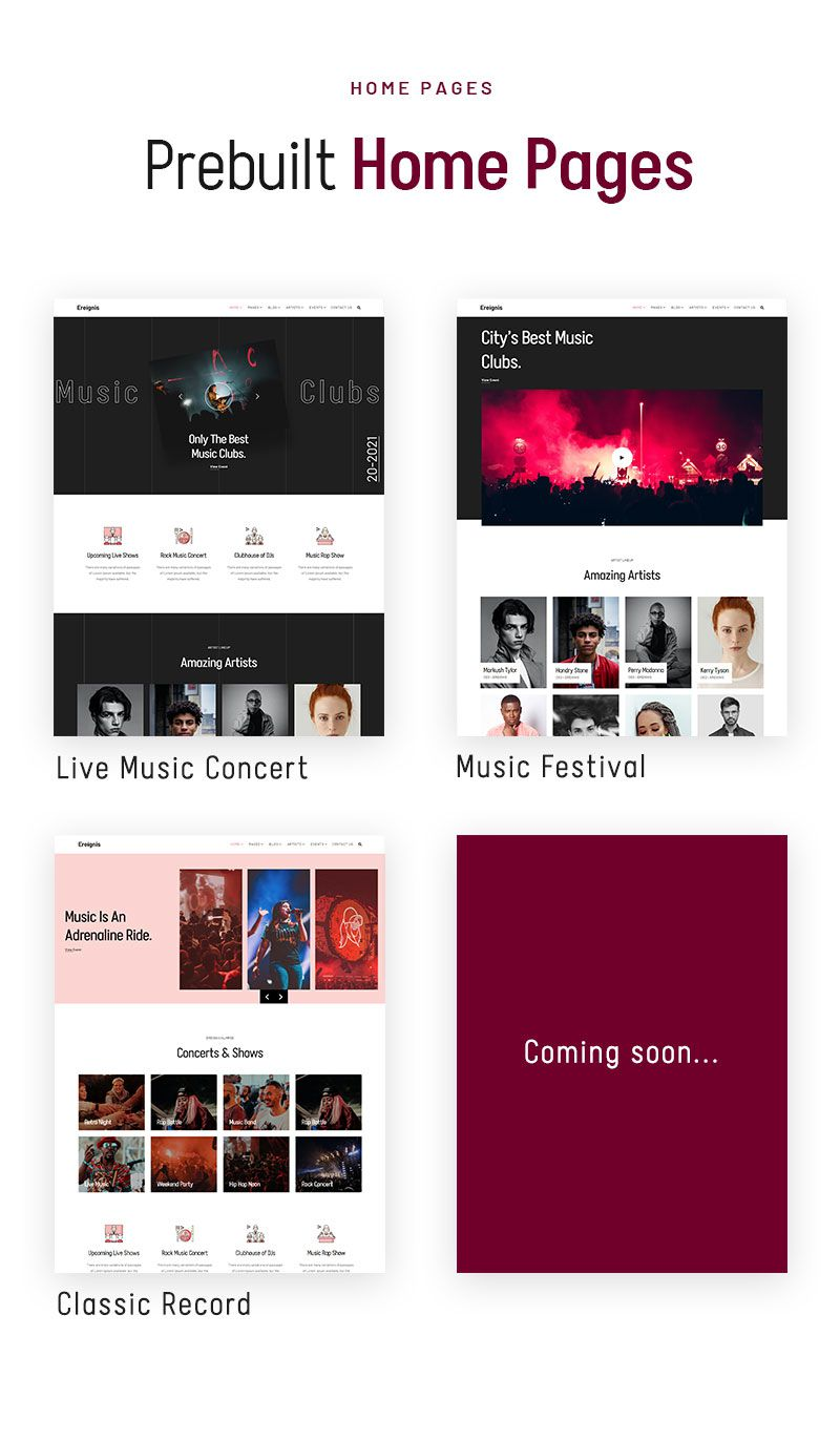 best wordpress theme for musicians | Ereignis | Iqonic Design music concert wordpress theme Ereignis 02 home pages