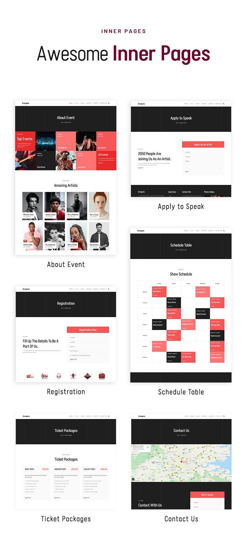 best wordpress theme for music festivals | Ereignis | Iqonic Design music concert wordpress theme Ereignis 03 inner pages